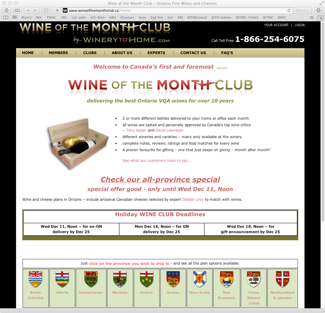 Wine of the Month Club - website